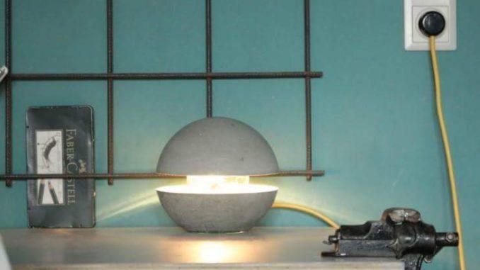Lampe aus Beton selbst herstellen von Saris Garage